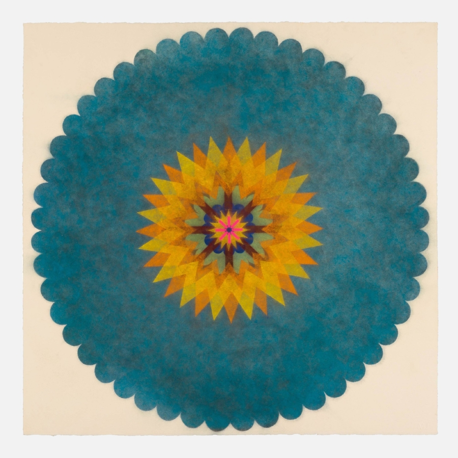 Mary Judge,  Pop Flower 41 , 2017, powdered pigment on paper, 30 x 30 inches (unframed), $3500. (unframed), 33.75 x 33.75 inches (framed), $3900. (framed)
