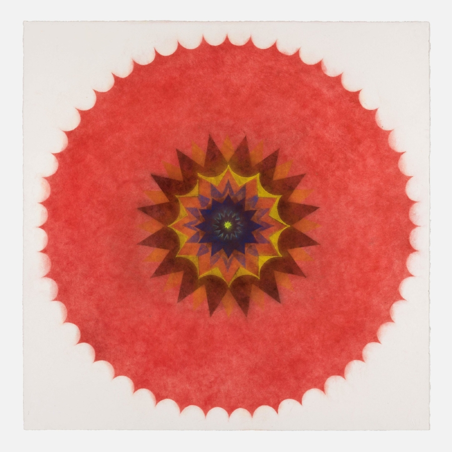Mary Judge,  Pop Flower 47 , 2017, powdered pigment on paper, 30 x 30 inches (unframed), $3500. (unframed), 33.75 x 33.75 inches (framed), $3900. (framed)