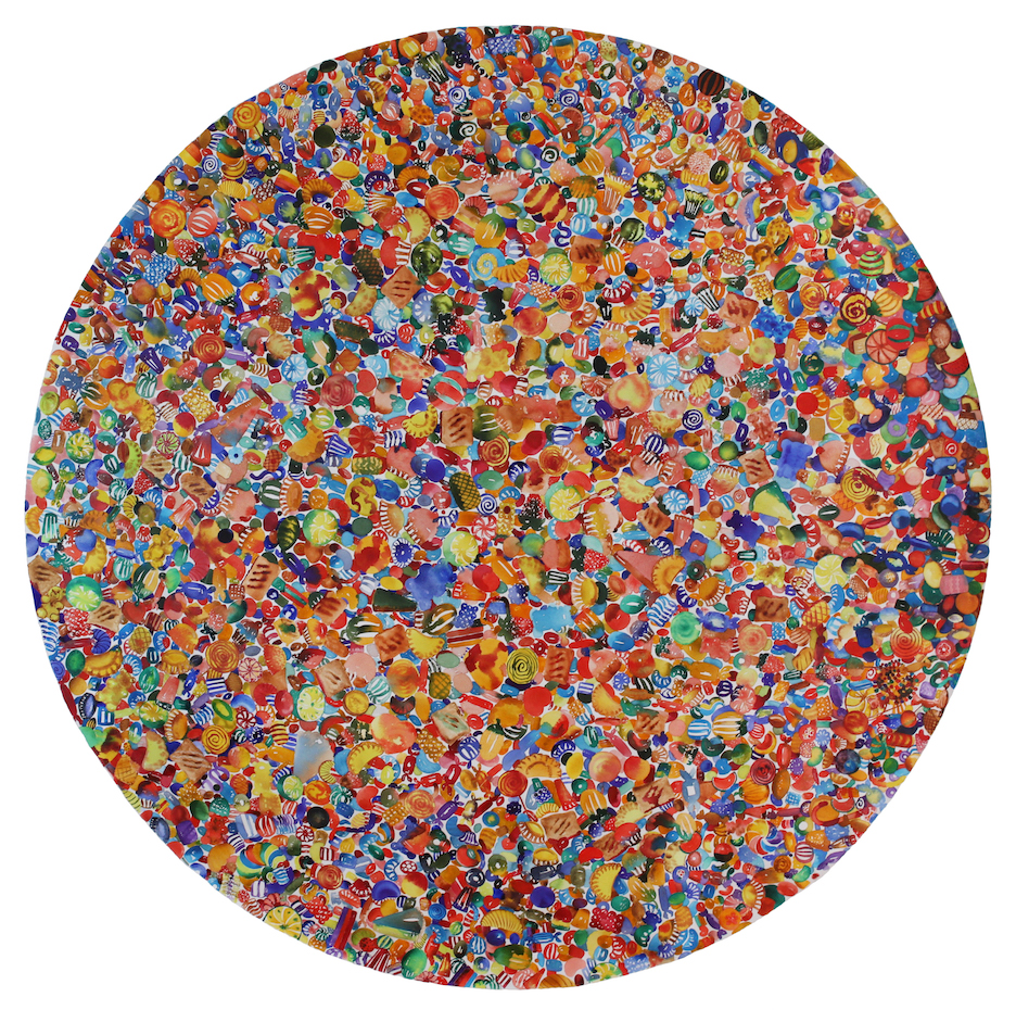 "1987 Candies, ""Application of the Principle of Specialization, Division of Labour, and Standardization of Parts to the Manufacture of Goods."" Mass production. ""Encyclopedia Britannica"" , 2017, watercolor on canvas, 60 inches (diameter), $7500."