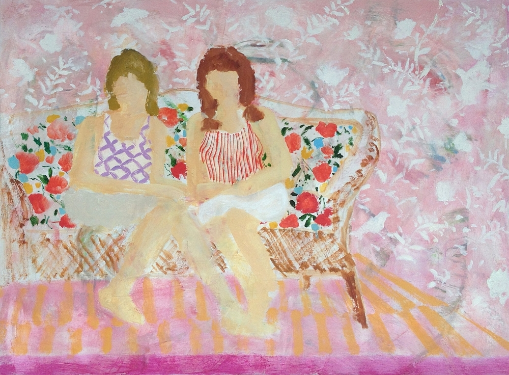 Melanie Parke,  Sisters , 2015, oil on canvas, 30 x 40 inches (unframed), $4600.
