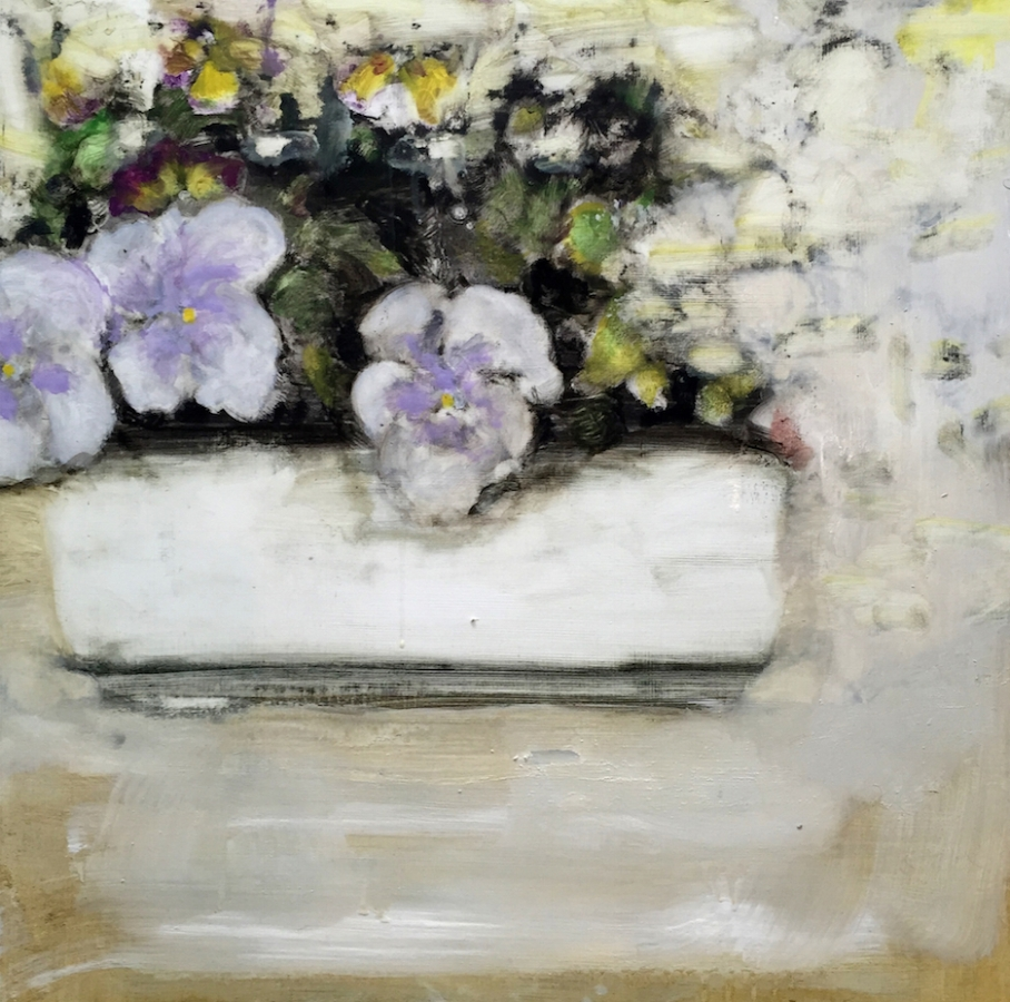 Pansies , 2017, oil on panel, 24 x 24 inches, $3800.