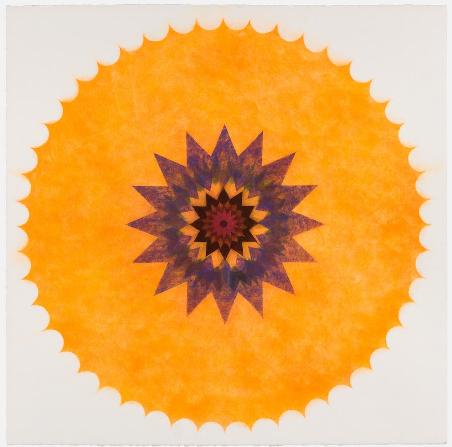 Pop Flower 46 , 2017, powdered pigment on paper, 30 x 30 inches (unframed), $3500. (unframed), 33.75 x 33.75 inches (framed), $3900. (framed)