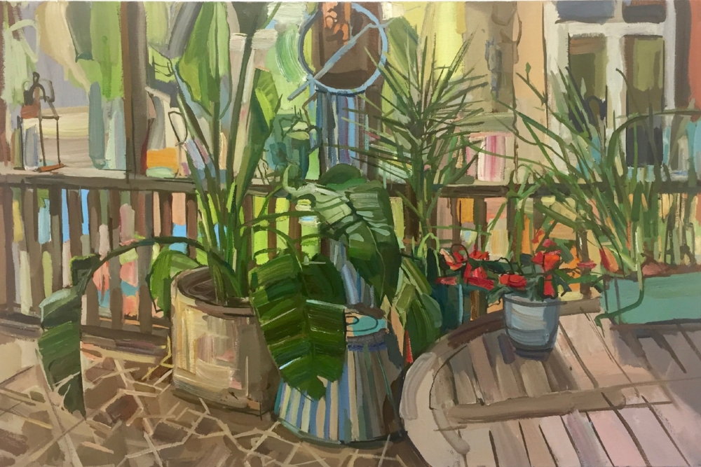 Plants on Porch , 2017, oil on linen, 18 x 27 inches, $3700. (framed)
