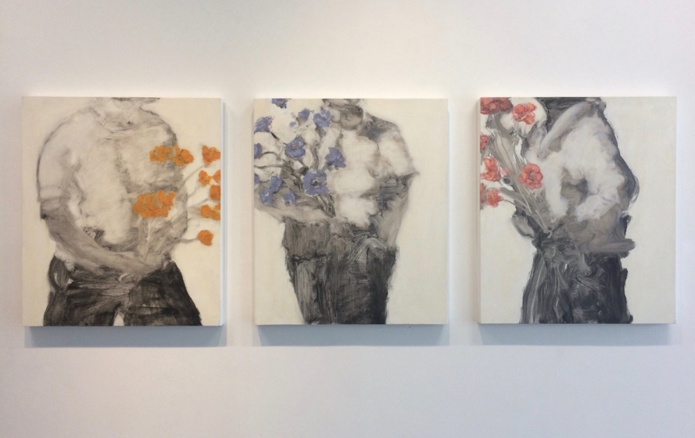 Installation view, David Konigsberg,  Bearing Flowers 1, 2, 3 , 2017, oil on panel, 28 x 24 inches (each), $3800. (each), $10,000. (as triptych)