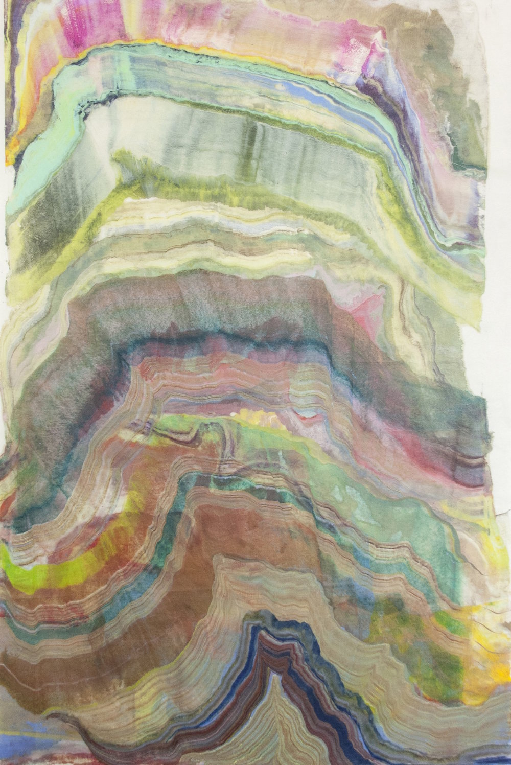 Foundation 7 , 2017, encaustic (pigmented beeswax) monotype on kawashi, 39 x 26 inches (unframed), $1000. (unframed) *can be oriented vertically or horizontally