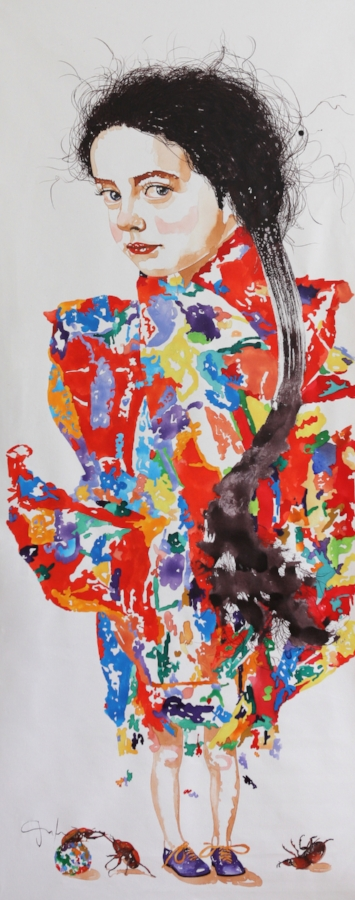 Ancestors and Descendants I , 2017, watercolor on canvas, 66 x 24 inches, $4800.