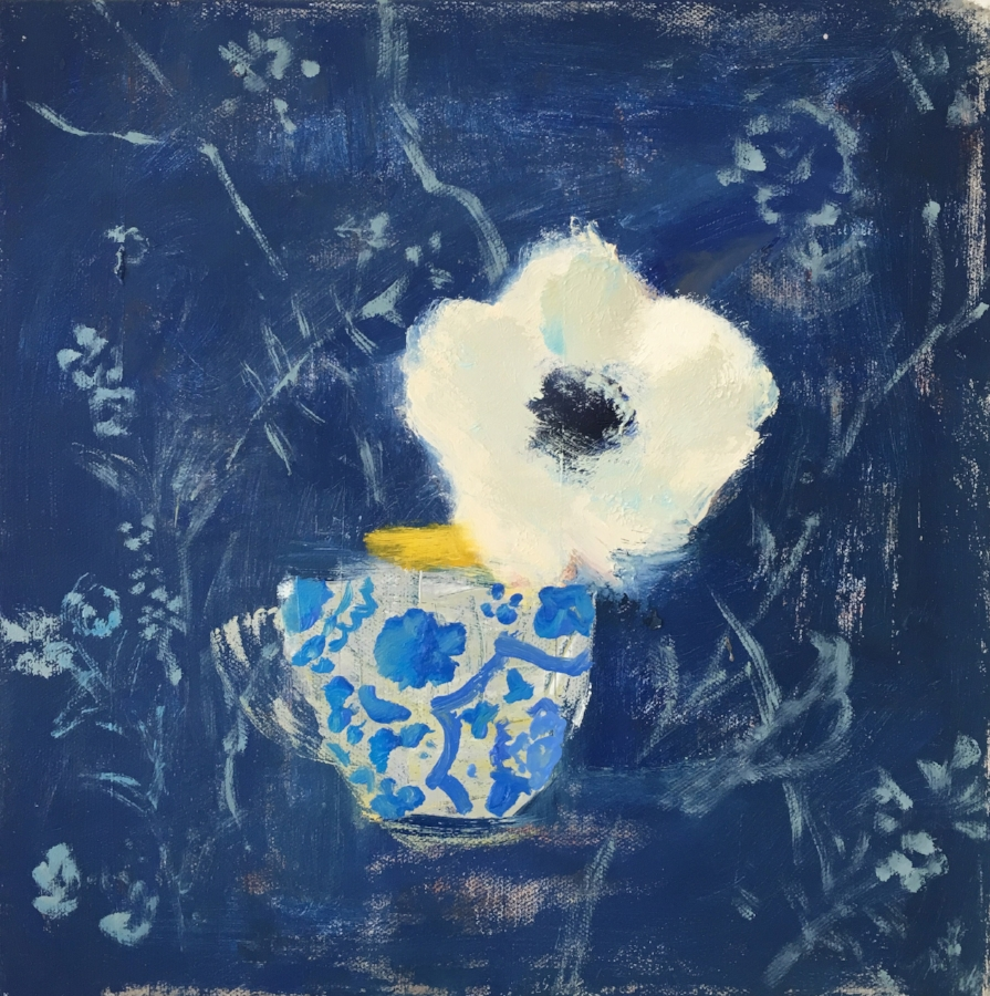 Melanie Parke,  Anemone Tea , 2016, oil on canvas, 12 x 12 inches, $1600.