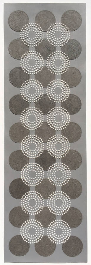 Untitled (Black/White Dots) , 2017, wood ash, chicken eggshells, acrylic, polymer medium on paper, 34 x 10.88 (unframed), 36.5 x 13.25 (framed), $1200. (framed) *can be oriented vertically or horizontally