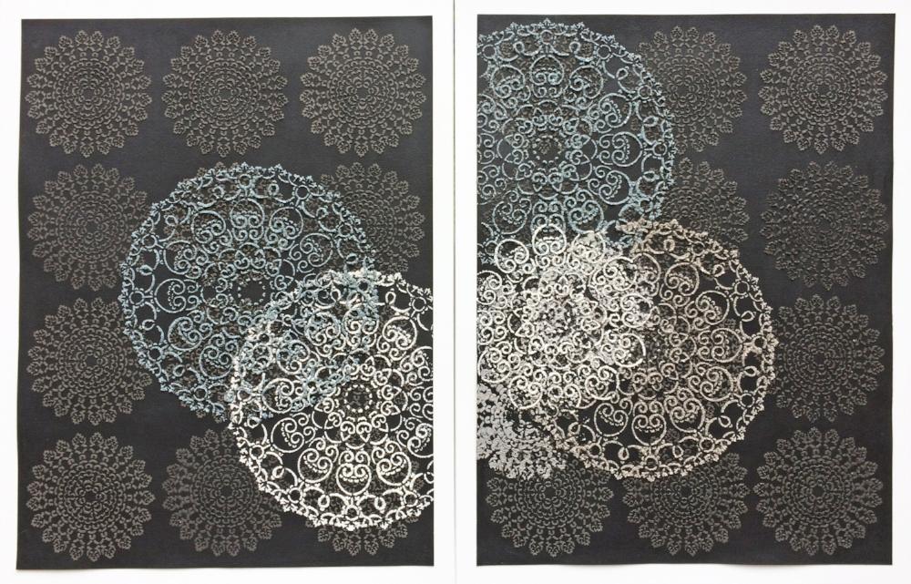 Untitled Diptych , 2017, wood ash, chicken eggshells and emu eggshells, acrylic medium on painted paper, 23.75 x 17.75 inches (unframed) (each), 26.38 x 17.75 (framed) (each), $950. (each) (framed) $1800. (as diptych) (framed)