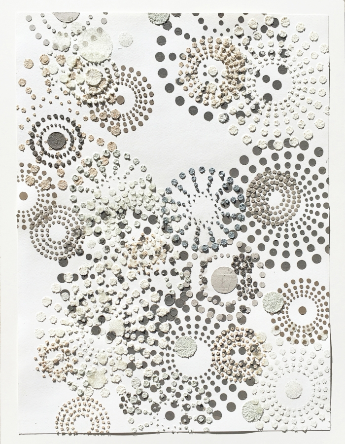 Untitled (multi dots) , 2017, glass beads, wood ash, chicken eggshells and emu eggshells, acrylic medium on painted paper, 24 x 17.75 inches (unframed), 26.75 x 20.75 inches (framed), $950. (framed) (sold)