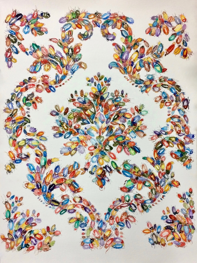 Waggle Dance , 2017, watercolor on paper, 41 x 29.5 inches (unframed), $3200. (unframed)