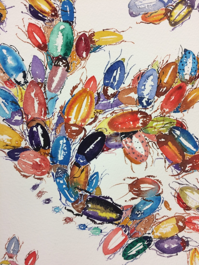 Waggle Dance  (detail), 2017, watercolor on paper, 41 x 29.5 inches (unframed), $3200. (unframed)