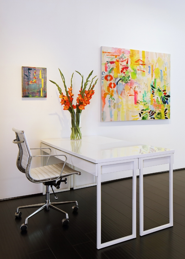 Installation view, Court of Alcinous , 2017, oil on canvas, 44 x 49 inches, $6200.  photo credit: Fisher Hart Architectural and Interior Photography