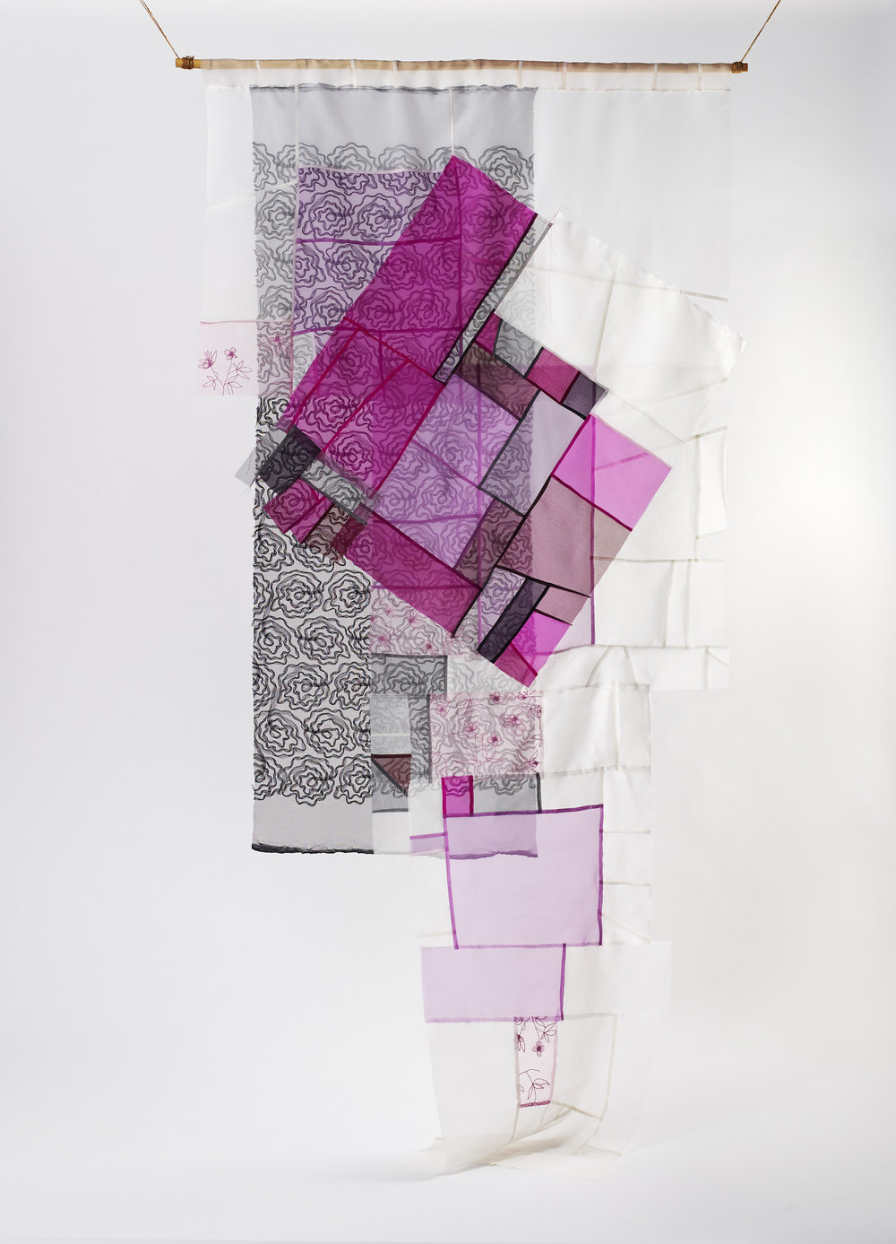 Installation view:  In the Mood for Love  (from ongoing  Bojagi  series),   2014, silk and thread, exhibited at the Korea Bojagi Forum,  From Traditional Bojagi to Contemporary Sustainable Textile , Jeju Island, South Korea
