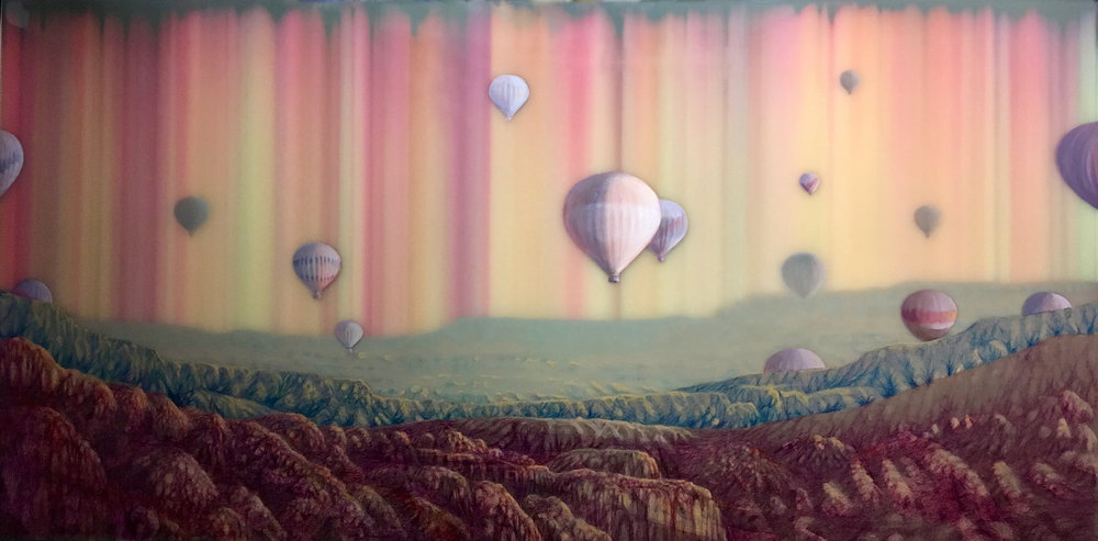 Hot Air, 2015, ballpoint pen, oil and resin on panel, 28 x 56.25 inches, $7000.