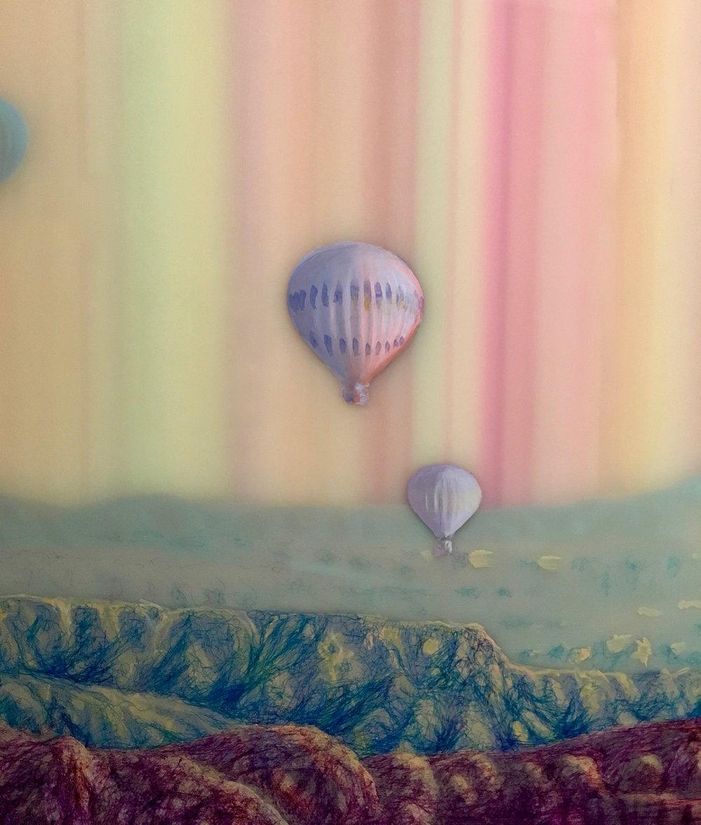 Hot Air (detail), 2015, ballpoint pen, oil and resin on panel, 28 x 56.25 inches, $7000.