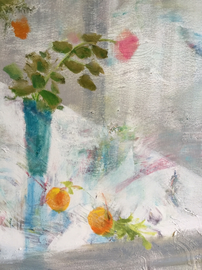 Rain Table  (detail), 2016, oil on canvas, 34 x 53 inches, $5500.