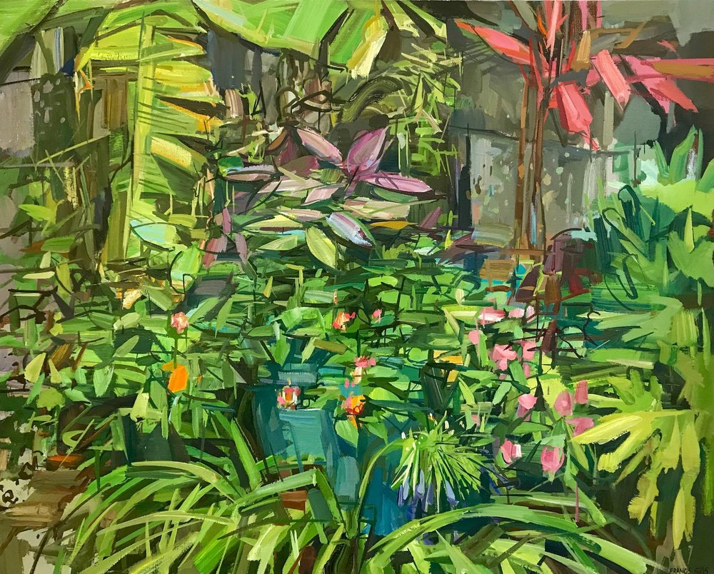 Summer Garden I , 2017, oil on linen, 24 x 30 inches, $4800. (framed)