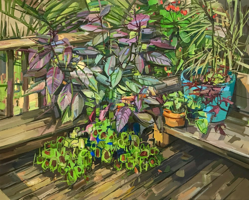 Summer Garden II , 2017, oil on linen, 24 x 30 inches, $4800. (framed)