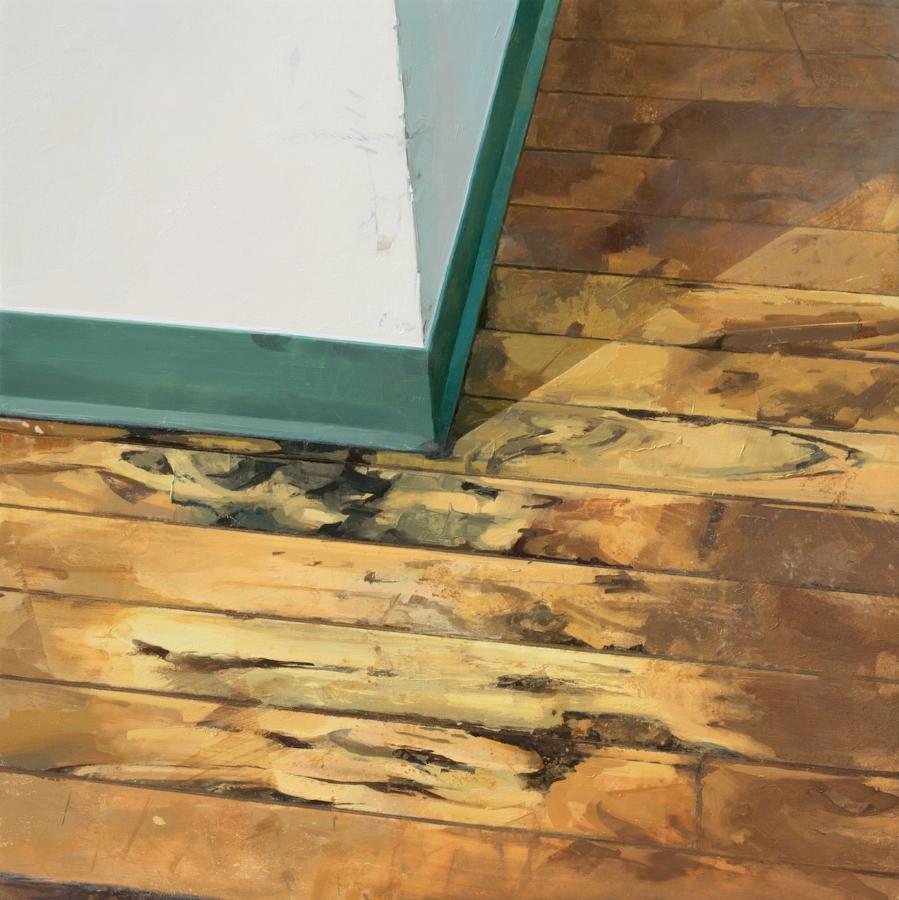 Hallway Corner , 2017, oil on panel, 23.5 x 23.5 inches, $4000.