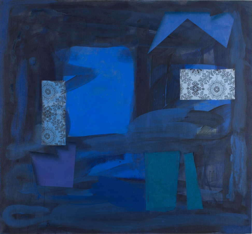 Dark Window , 2017, oil, acrylic and silk on linen, 46 x 50 inches, $6500.