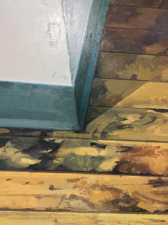 Hallway Corner  (detail), 2017, oil on panel, 23.5 x 23.5 inches, $4000.