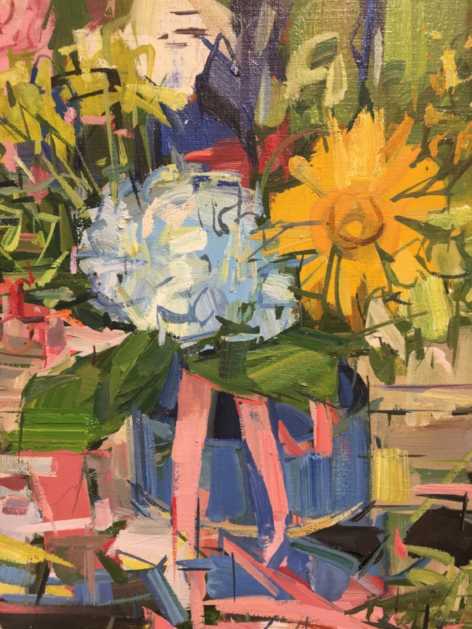 Floral Still Life II  (detail), 2017, oil on linen, 20 x 24 inches, $$3600. (framed)