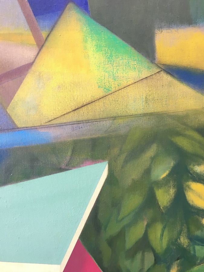 Hitting Home  (detail), 2017, oil on linen, 46 x 70 inches, $8500.
