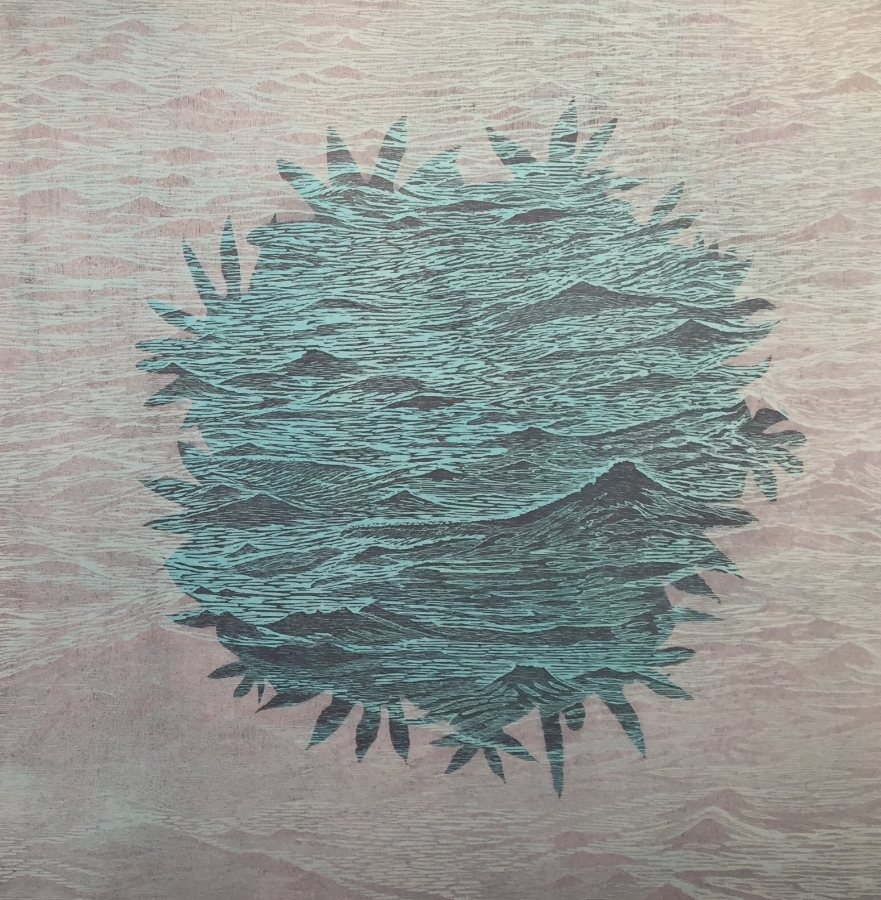 Sea/Bloom variation 9  (right), 2016, woodcut print with colored inks and colored pencil on paper, edition 1/1 (monotype), 36 x 36 inches (unframed), $3000. (unframed)