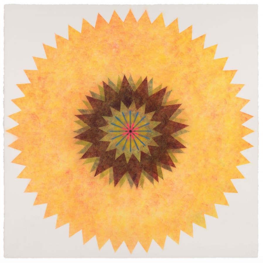 Pop Flower 48 , 2017, powdered pigment on paper, 30 x 30 inches (unframed), $3500. (unframed)