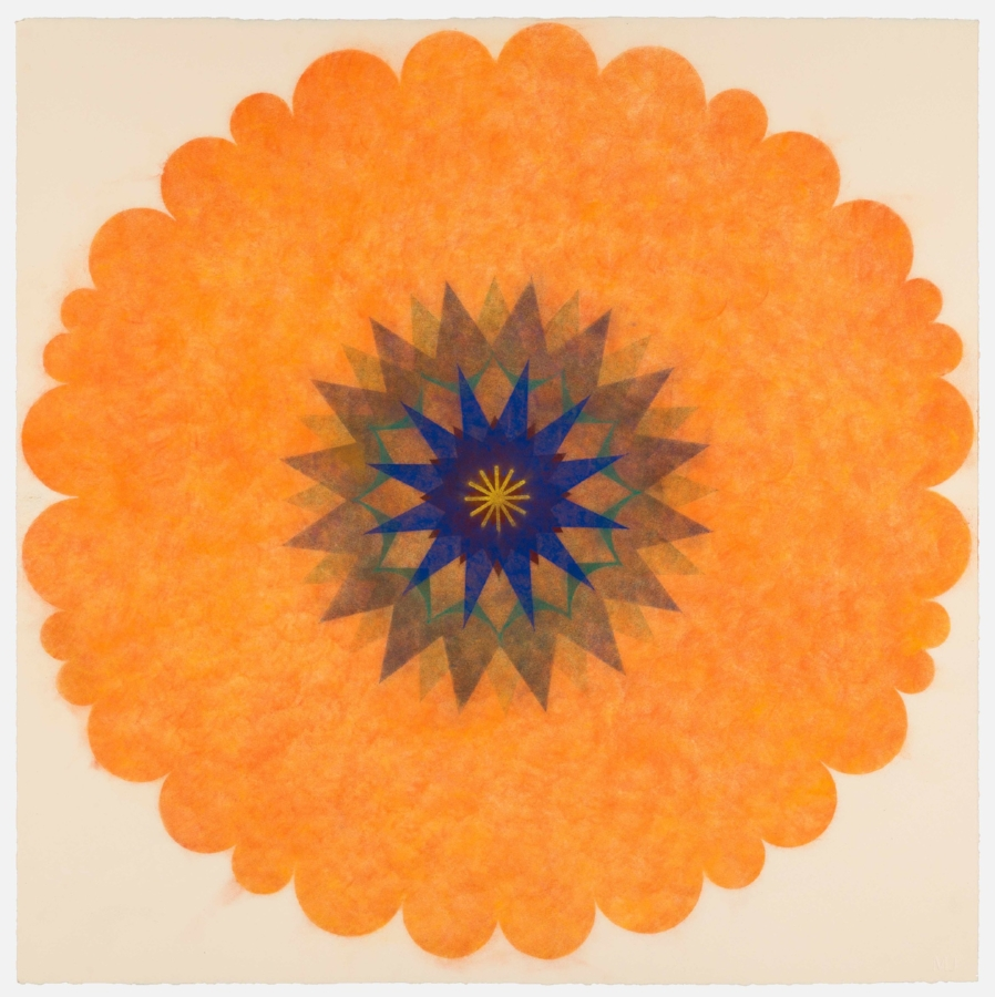 Pop Flower 42 , 2017, powdered pigment on paper, 30 x 30 inches (unframed), $3500. (unframed)