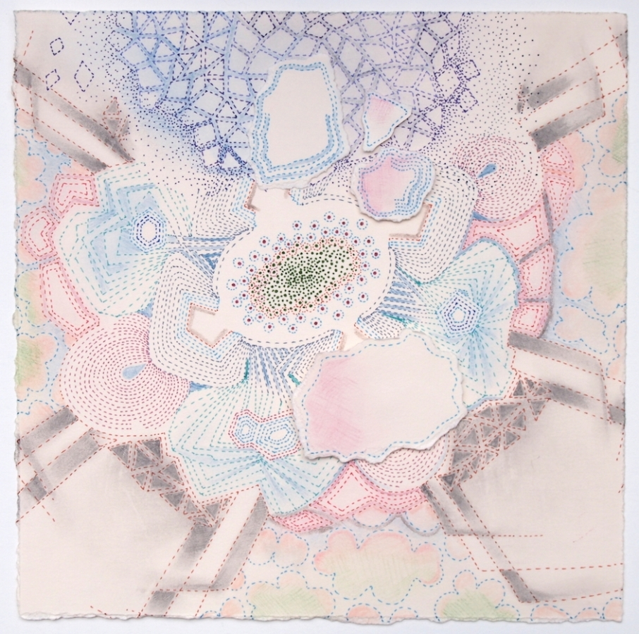 Little Spring Amanita , 2017, ink, colored pencil, graphite and collage on paper, 8 x 8 inches (unframed), $700. (unframed), 12 x 12 inches (framed), $750. (framed)