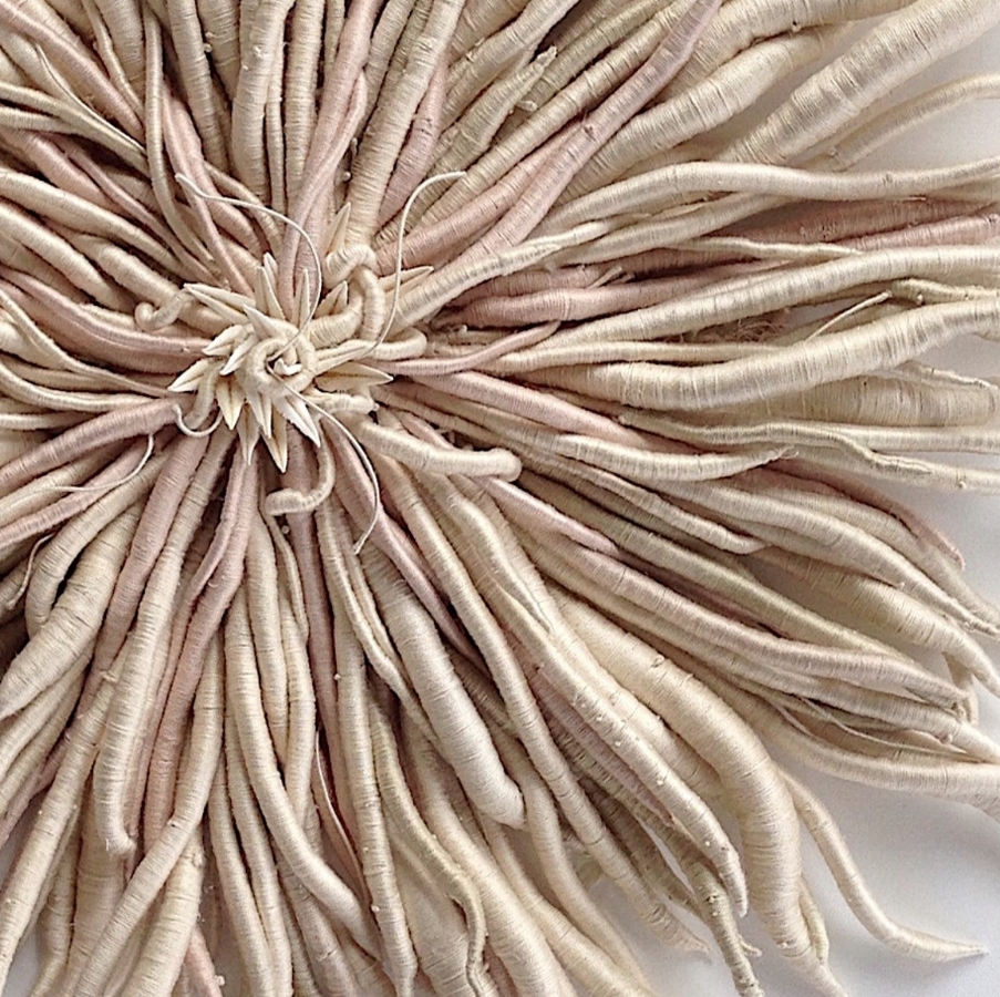 Catherine Latson,  Specimen 1  (detail), 2017, hand-dyed cotton thread, cotton, wire, starfish arms, 34 x 34 x 4 inches, $4500. (framed in acrylic shadowbox) (sold)