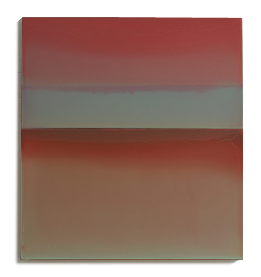 Susan English,  Red Sky at Night , 2017, tinted polymer on panel, 25.75 x 23.5 x 2 inches, $3400.