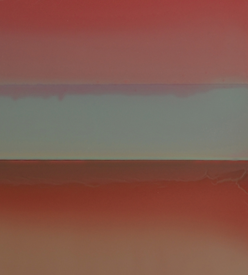 Susan English,  Red Sky at Night  (detail), 2017, tinted polymer on panel, 25.75 x 23.5 x 2 inches, $3400.