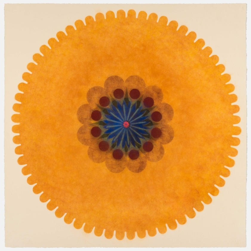 Pop Flower 43 , 2017, powdered pigment on paper, 30 x 30 inches (unframed), $3500. (unframed)
