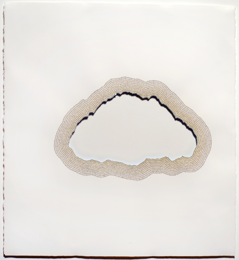 Meg Hitchcock,  The Cloud of Unknowing , 2015, letters cut from the Upanishads, 24.5 x 22.5 inches (unframed), 28.25 x 26.25 inches (framed), $5800. (framed)
