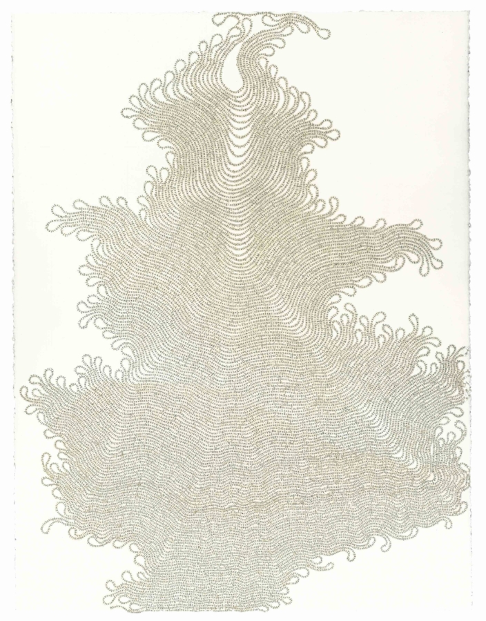 Meg Hitchcock,  Shoonya:   Vijnana Bhairava Tantra , 2009, letters cut from the Torah (The Book of Deuteronomy), 30 x 22 inches (unframed), 34.5 x 27.25 inches (framed), $9500. (framed)