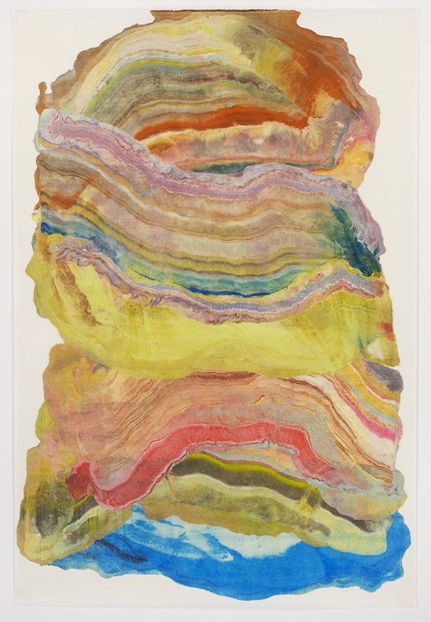 Ash Plume 6 , 2017, encastic (pigmented beeswax) monotype on paper, 36 x 24 inches (unframed), $1000. (unframed) *can be oriented vertically or horizontally