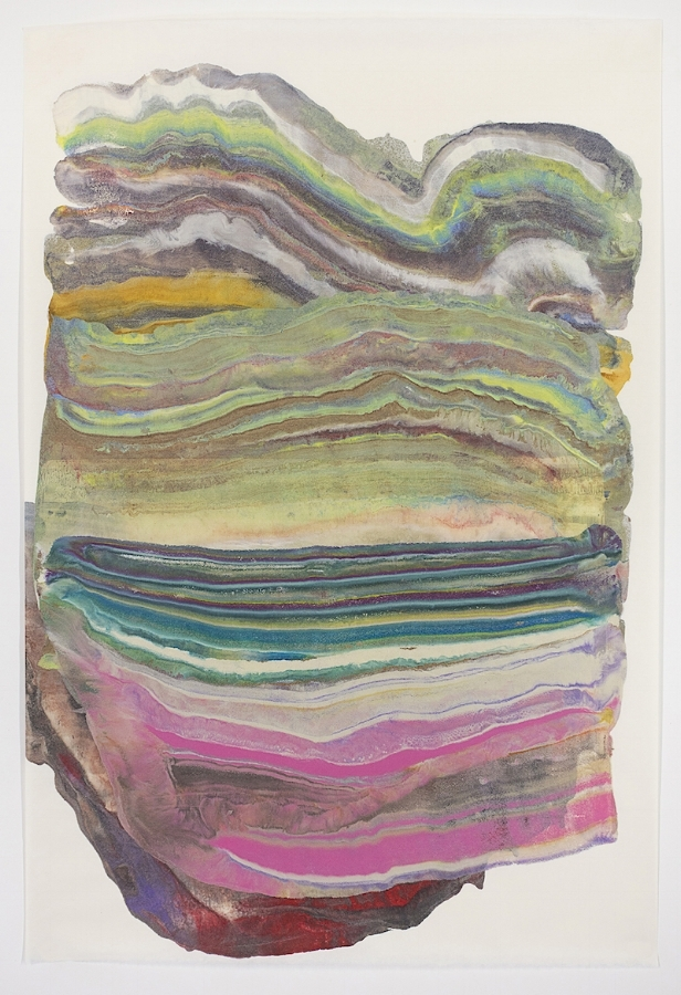 Belly Laugh , 2017, encastic (pigmented beeswax) monotype on paper, 36 x 24 inches (unframed), $1000. (unframed) *can be oriented vertically or horizontally