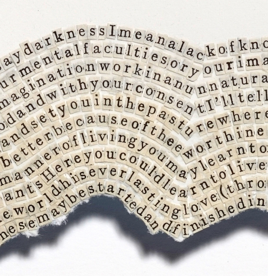 Meg Hitchcock,  The Cloud of Unknowing  (detail), 2015, letters cut from the Upanishads, 24.5 x 22.5 inches (unframed), 28.25 x 26.25 inches (framed), $5800. (framed)