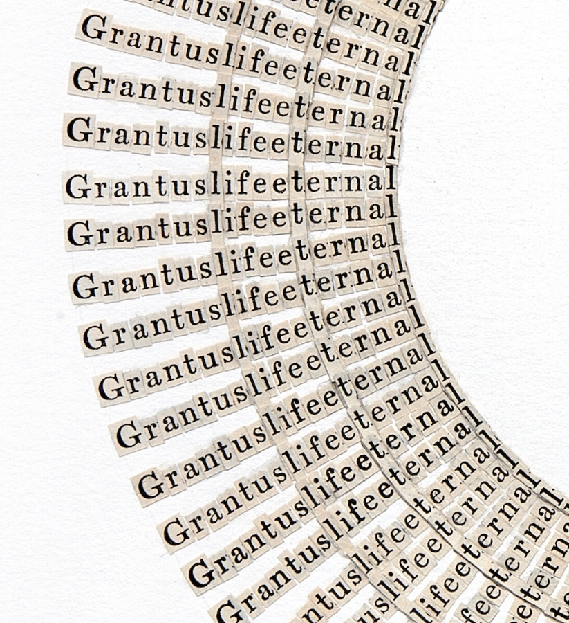 Life Eternal  (detail), 2015, letters cut from the Bibles, 24 x 18 inches (unframed), 28.25 x 24.25 inches (framed), $5800. (framed)