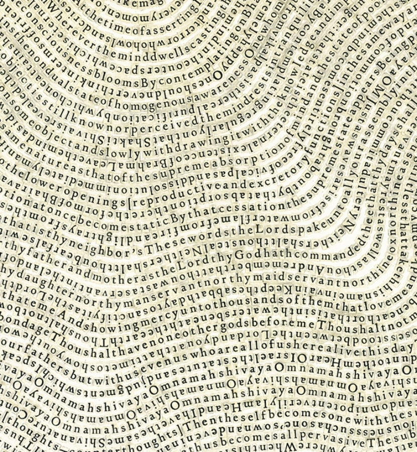 Meg Hitchcock,  Shoonya:   Vijnana Bhairava Tantra  (detail), 2009, letters cut from the Torah (The Book of Deuteronomy), 30 x 22 inches (unframed), 34.5 x 27.25 inches (framed), $9500. (framed)