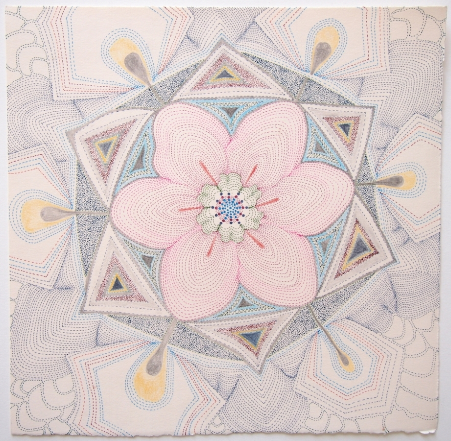 Pink Earth Tonguled , ink, graphite and colored pencil on paper, 10 x 10 inches (unframed), $850. (unframed), 12 x 12 inches (framed) $900. (framed)