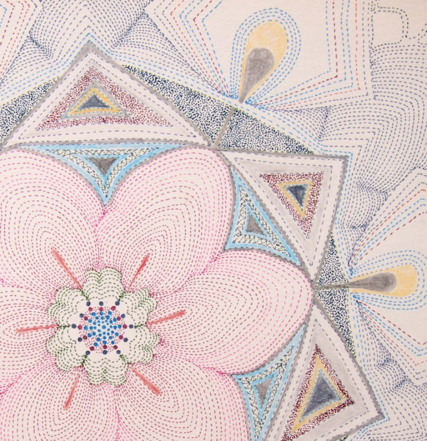 Pink Earth Tonguled  (detail), ink, graphite and colored pencil on paper, 10 x 10 inches (unframed), $850. (unframed), 12 x 12 inches (framed) $900. (framed)
