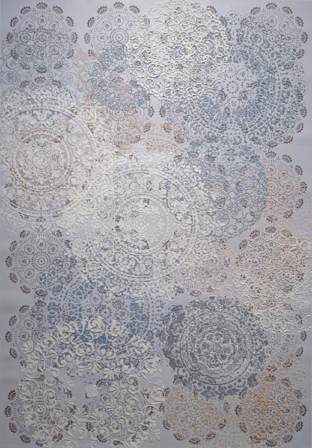 Eleanor White,  Mandala Abstraction , 2018, eggshell, emu eggshell, ash, acrylic, polymer medium on paper, 48.625 x 34 inches (unframed), 51 x 36 inches (framed), $4000. (framed)