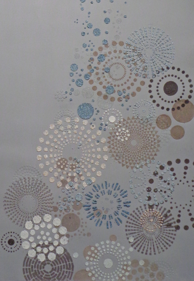 Eleanor White,  Grey Multi Dot  (large) (detail), 2018, eggshell, ash, glass bead, ink, emu eggshell, acrylic, polymer medium on paper, 47 x 32 inches (unframed), 50.5 x 34.75 inches (framed), $3500. (framed)