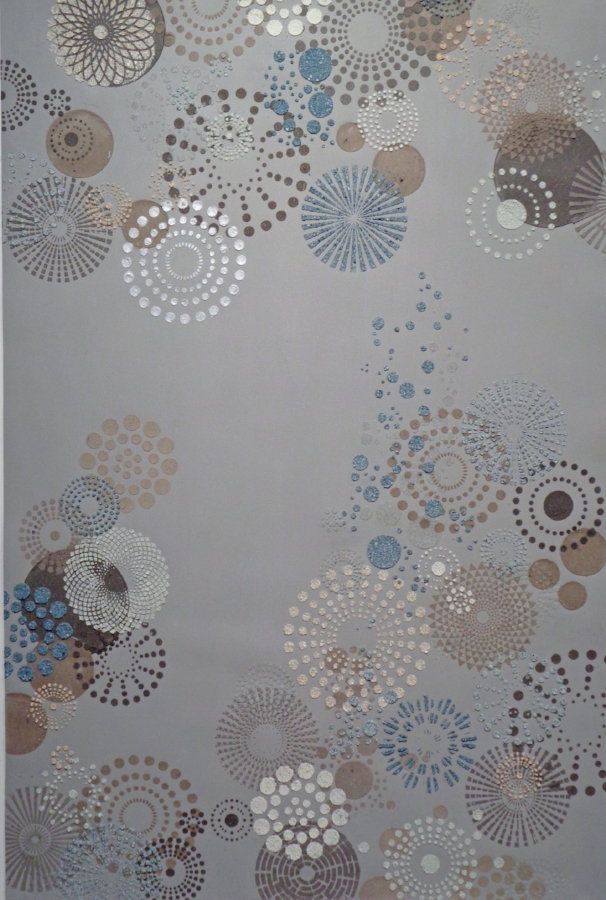 Grey Multi Dot (large) , 2018, eggshell, ash, glass bead, ink, emu eggshell on painted paper, 47 x 32 inches (unframed), 50.5 x 34.75 inches (framed)