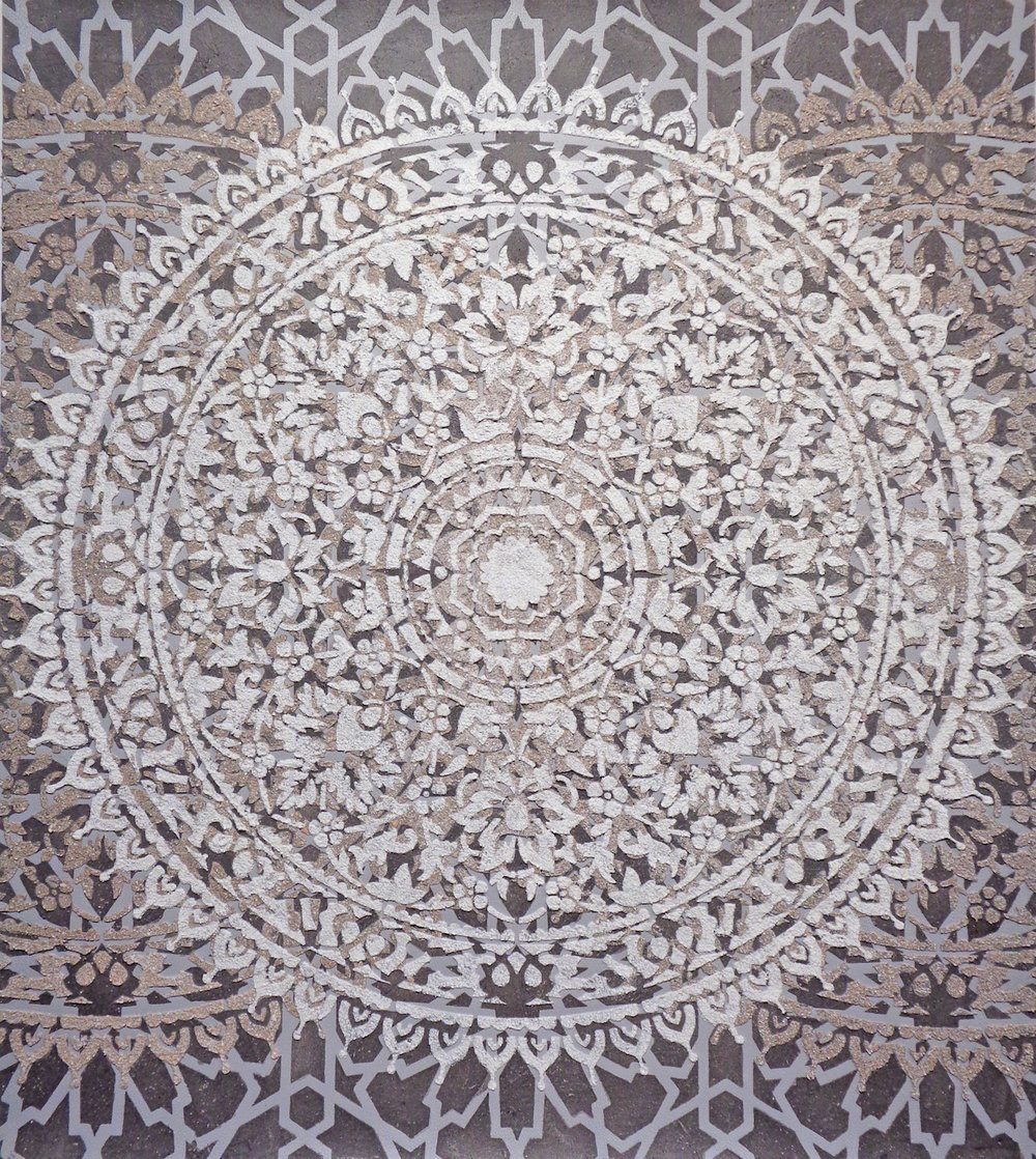 Eleanor White,  Eggshell/Ash Mandala , 2018 eggshell, wood ash,acrylic, polymer medium on paper, 33.5 x 29.88 inches (unframed), 36.75 x 33 inches (framed), $3000. (framed)