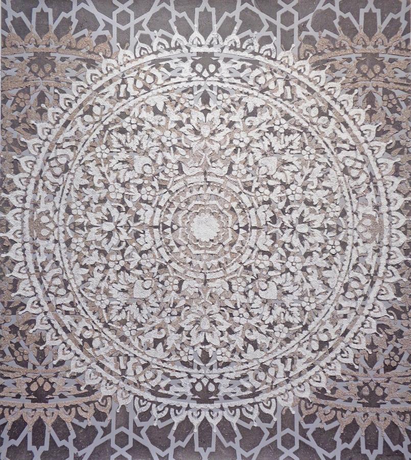 Eggshell/Ash Mandala , 2018, eggshell, wood ash on painted paper, 33.5 x 29.88 inches (unframed), 36.75 x 33 inches (framed)